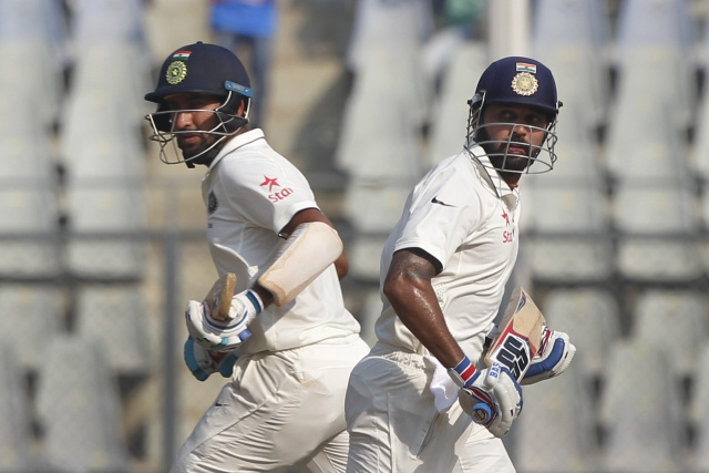 Murali Vijay (L) and Cheteshwar Pujara (R). (Photo: BCCI)