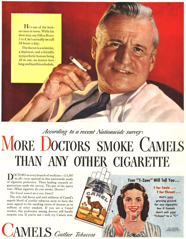 "The Camel cigarette advertisement that showed a 'doctor' endorsing the product. (Photo: <a href=""https://in.pinterest.com/pin/347832771190670536/"">Pinterest)</a>"