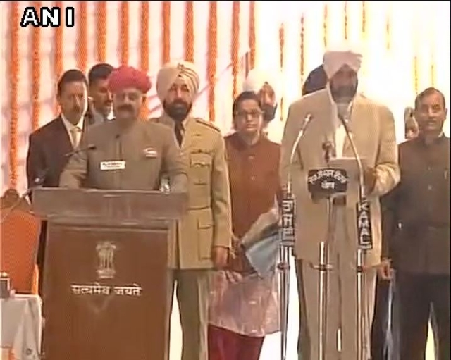 Manpreet Singh Badal takes oath as cabinet minister in the Punjab government. (Photo: ANI)