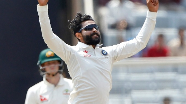 Ravindra Jadeja celebrates a wicket during the Test series against Australia. (Photo: BCCI)