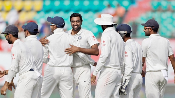 Ravi Ashwin celebrates the big wicket of Steve Smith for 111 on Day 1 of the Dharamsala Test. (Photo: BCCI)
