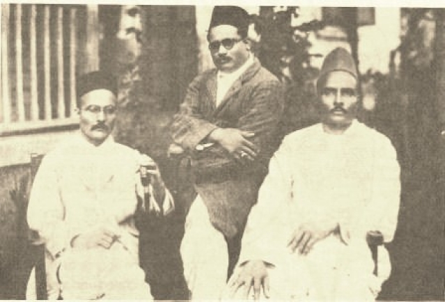 "(From left) VD Savarkar, Narayanrao Savarkar and Babarao Savarkar. (Photo Courtesy: <a href=""http://www.savarkar.org/en/gallery"">Savarkar.org)</a>"