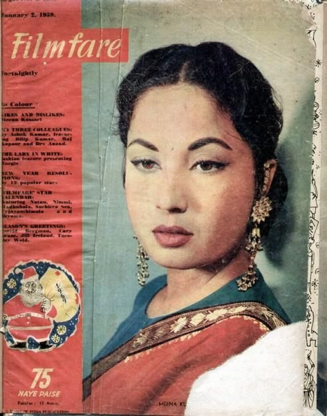Meena Kumari on the cover of Filmfare magazine in 1959. (Photo courtesy: Pinterest)