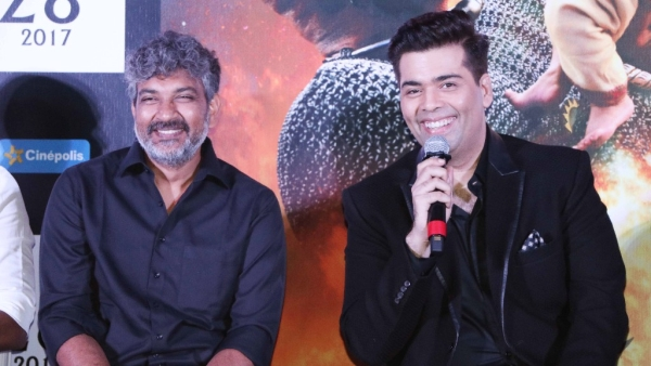 <i>Baahubali 2: The Conclusion</i> director SS Rajamouli and Karan Johar at the launch of the film's trailer. (Photo: Yogen Shah)