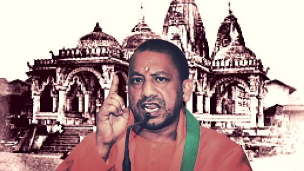 Yogi Adityanath, the new Uttar Pradesh Chief Minister. (Photo: IANS/Wikipedia altered by <b>The Quint</b>)