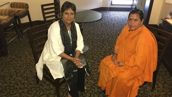 In a candid chat with Barkha Dutt, Uma Bharti talks about <i>vikas</i> in Uttar Pradesh. (Photo: <b>The Quint</b>)