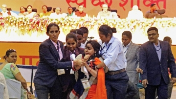 Shalini Singh was gagged and whisked away at the event. (Photo: PTI)