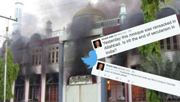 A Peshawar-based Twitter handle shared an image of a burning mosque, claiming it was from Allahabad. (Photo: Altered by <b>The Quint</b>)