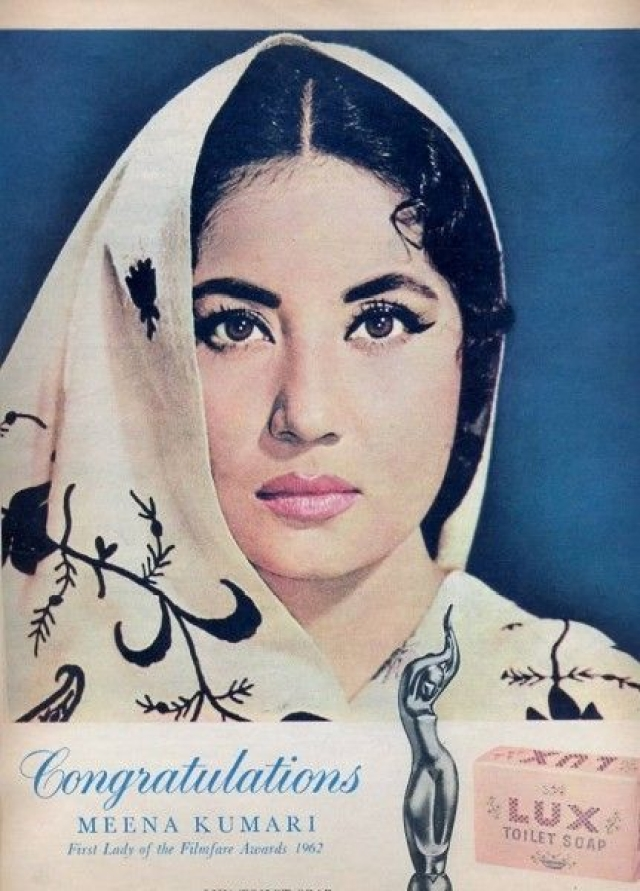 Meena Kumari gets a congratulatory note from Lux. (Photo courtesy: Pinterest)