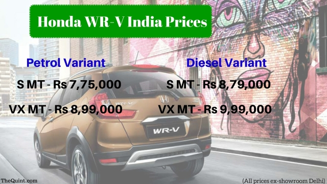 All the prices of Honda WR-V. (Photo: <b>The Quint</b>)