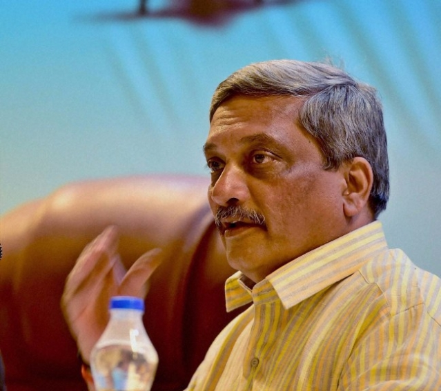 Former Defence Minister Manohar Parrikar at the AERO India Press Conference in Begaluru. (Photo: PTI)
