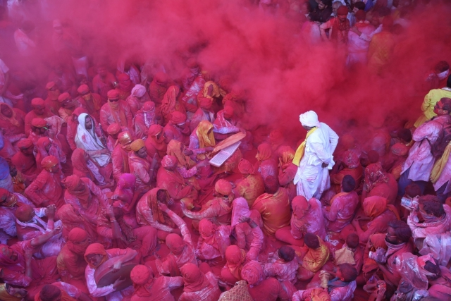 Laddu Holi in Barsana. (Photo: IANS)