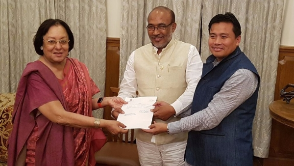 Manipur Governor Najma Heptullah with Manipur Chief Minister Biren Singh. (Photo: PTI)