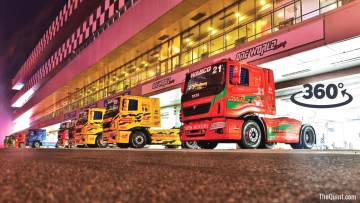 Trucks lined up for T1 Prima Truck Racing in Greater Noida. (Photo: <b>The Quint</b>)