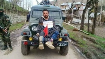 "36- year-old Farooq Dar was tied to a jeep allegedly as a human shield against stone pelters during polling in the Srinagar Lok Sabha by-election. (Photo Courtesy: Twitter/<a href=""https://twitter.com/icashmir/status/853092569269579776"">@icakashmir</a>)"