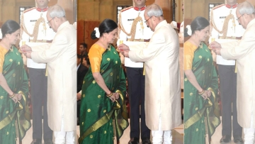 Bhawana Somaaya received the Padma Shri from President Pranab Mukherjee. (Photo courtesy: Bhawana Somaaya)