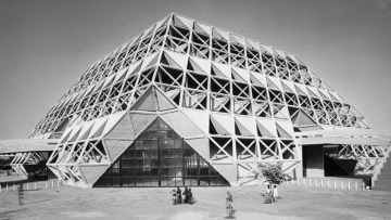 """In 1972, Hall of Nations was symbolic of an achievement by young architects —creating a uniquely Indian style. (Photo: Copyright Raj Rewal via<a href=""""https://architexturez.net/doc/az-cf-123722"""">Architexturez.net</a>)"""