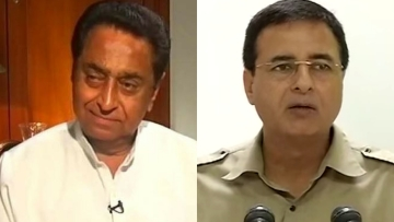 "Randeep Surjewala (right) dismissed reports of Kamal Nath (left) joining the BJP. (Photo Courtesy: ANI/Twitter/<a href=""https://twitter.com/kellyjoshi"">@<b>kellyjoshi</b></a>/Altered by <b>The Quint</b>)"