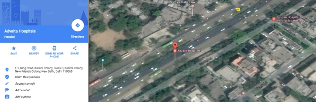 Advaita Hospital's fake address is the same as that of Sunrise Hospital. (Photo: Screenshot from Google Maps)