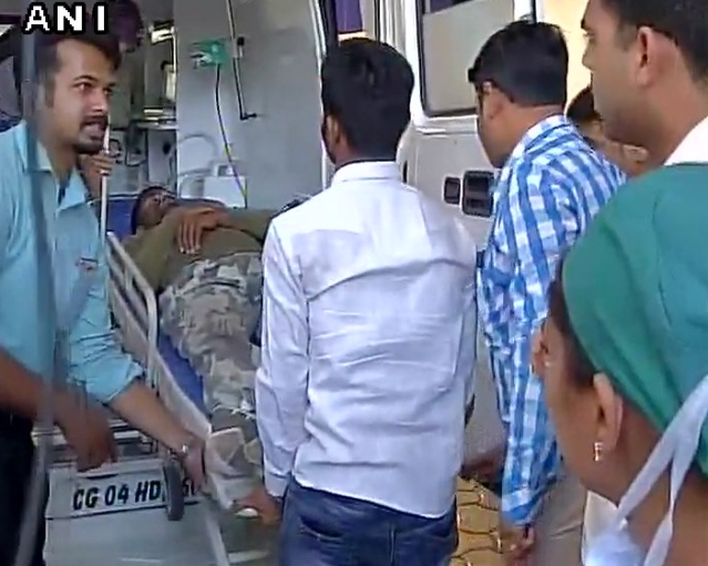 Jawans injured in the Naxal encounter in Chhattisgarh's Sukma shifted to hospital in Raipur. (Photo: ANI)