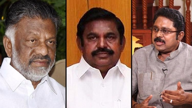 From left to right: O Panneerselvam, E Palanisamy, TTV Dinakaran
