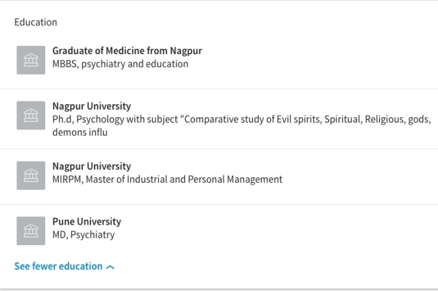 Screengrab of Kulkarni's educational qualifications, as listed on his LinkedIn page.