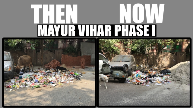 Garbage strewn out in the open on one side of Patparganj road in Mayur Vihar Phase i. Despite an entry in the app, the garbage was not cleaned as of 21/04/17.
