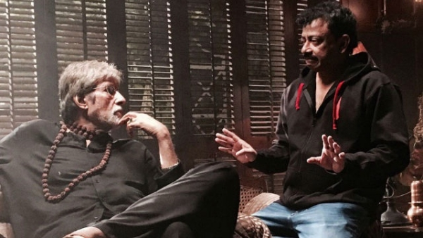 """Amitabh Bachchan and Ram Gopal Varma in deep conversation on a film set. (Photo courtesy: Twitter/<a href=""""https://twitter.com/RGVzoomin"""">@<b>RGVzoomin</b></a>)"""