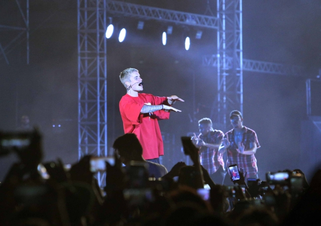 Justin Bieber at his maiden India concert got a mixed reaction from fans. (Photo: Yogen Shah)