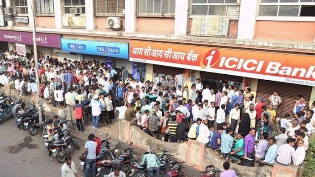 Many people died while waiting in bank queues during demonetisation.