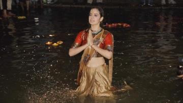 Kangana Ranaut takes a dip in the Ganga river in Varanasi. (Photo courtesy: Twitter)