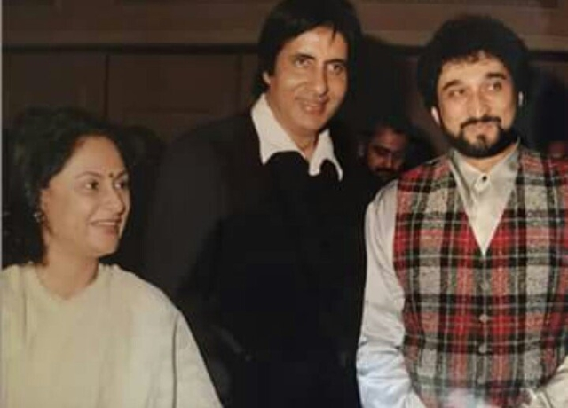 The music maestro Nadeem Saifi with Amitabh Bachchan and Jaya Bachchan (Photo: Twitter/ KingSanu1)
