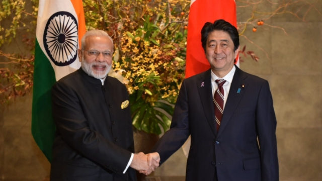 Prime Minister Narendra Modi with his Japanese counterpart, Shinzo Abe, in Japan.
