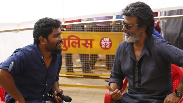 Director Pa Ranjith and Rajinikanth on the sets of <i>Kaala </i>in Mumbai.