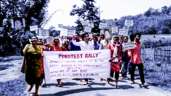 A protests being held against the Karbi Anglong gang rape (Photo: The Quint)