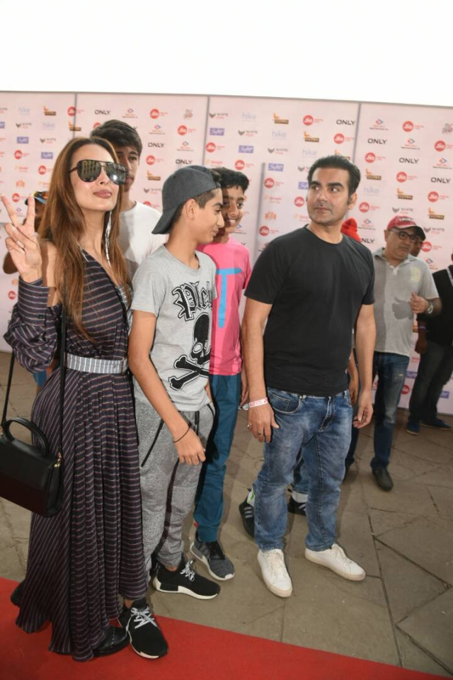 Malaika Arora arrives at DY Patil Stadium with her kids and former husband Arbaaz Khan. (Photo: Yogen Shah)