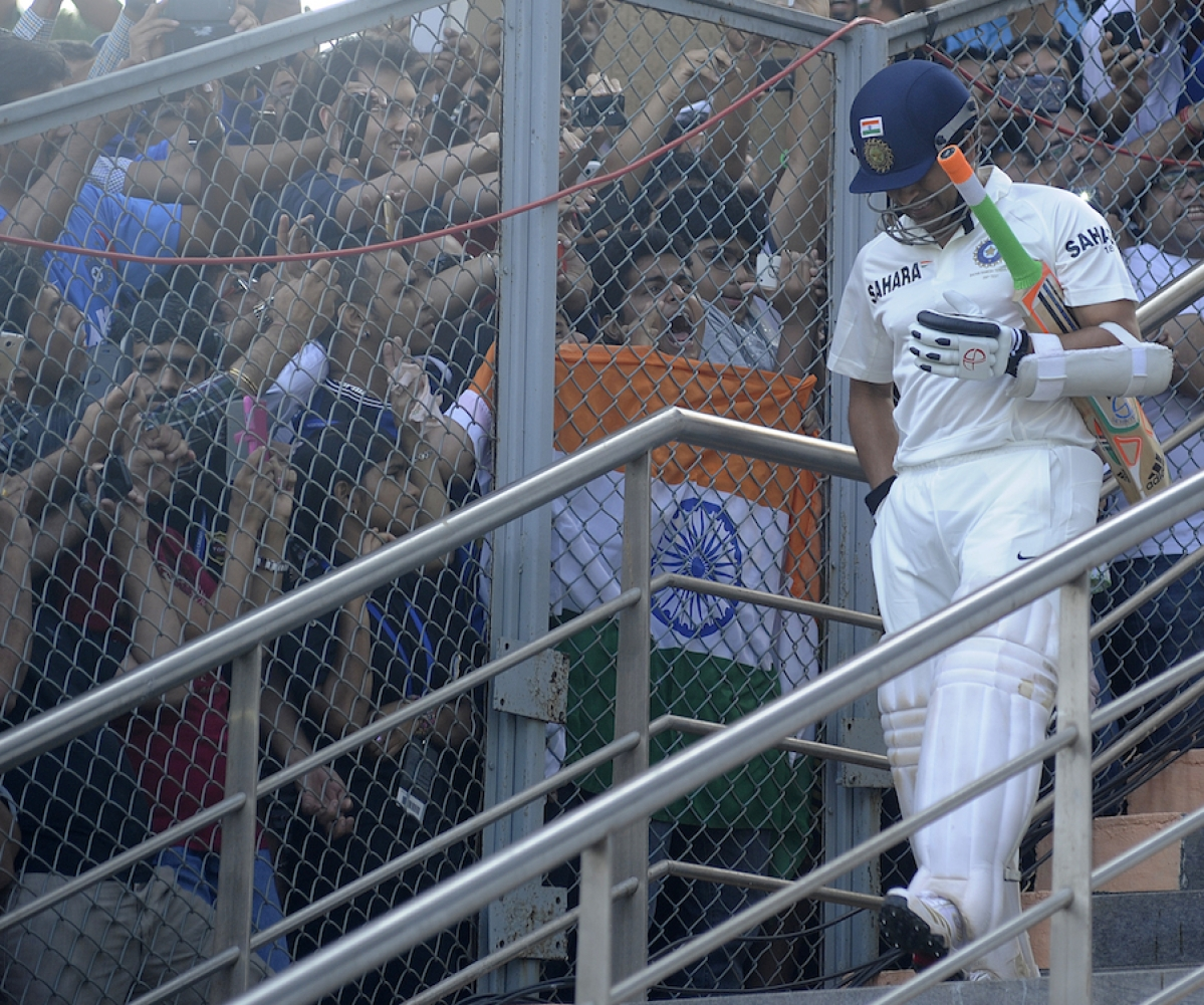 Sachin Tendulkar walks out to bat in his final Test. (Photo Courtesy: BCCI)