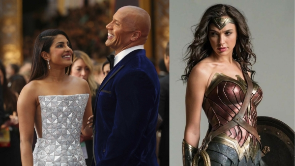 Priyanka Chopra with Dwayne Johnson; Gal Gadot as Wonder Woman. (Photos: Reuters / Twitter)