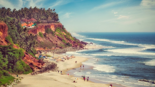 A view of the Varkala beach.