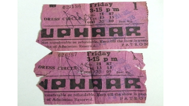 The tickets for 'Border' that were found in the pocket of Ujjawal, Neelam & Shekhar Krishnamoorthy's late son.