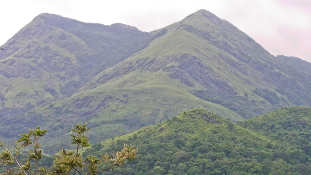 Beautiful view of the Western Ghats mountain range in Wayanad district, Kerala.