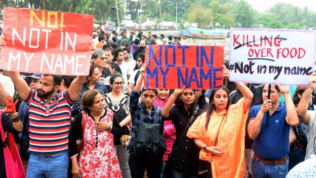 At the 'Not in My Name' protest in Mumbai.