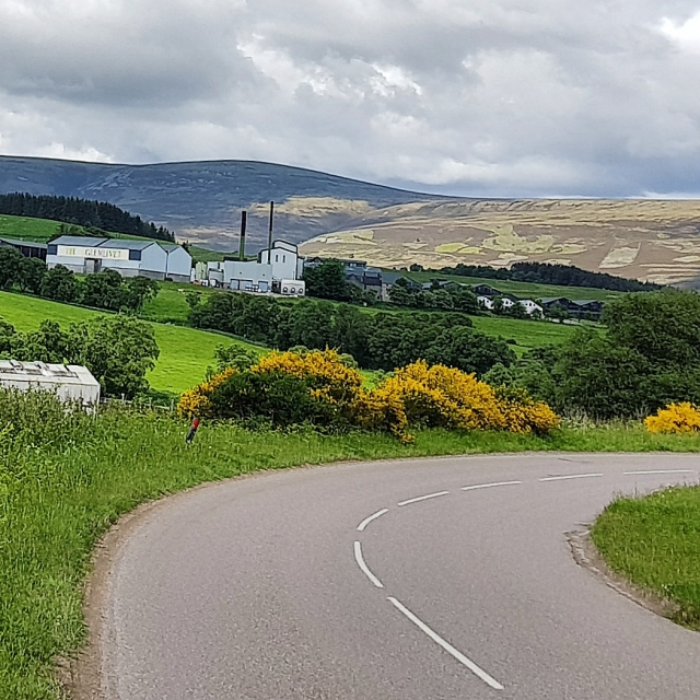 Speyside region with the Glenlivet distillery in the background.