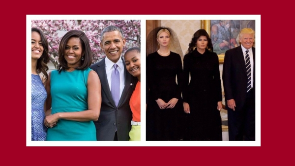 The Obamas (left) and the Trumps (right). (Photo: Altered by<b> </b>The Quint)