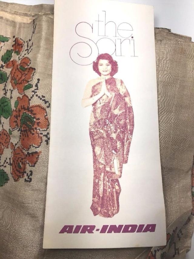 "(Photo Courtesy: <a href=""http://www.ebay.com/itm/Air-India-Sari-Advertisement-with-Complimentary-Silk-Sari-Saree-1970s-/272714893964"">eBay</a>)"