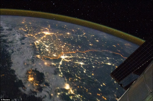 India-Pakistan border as captured from space by Nasa. (Photo: Reuters)