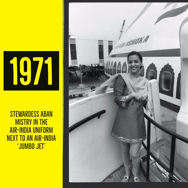 Stewardess Aban Mistry in the Air India uniform next to an Air India Jumbo jet. (Photo Courtesy: estar.Sk)