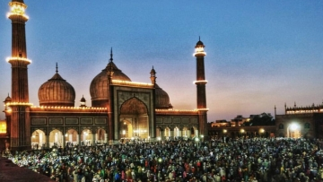 New Delhi's iconic Jama Masjid lit up ahead of Eid-ul-Fitr.