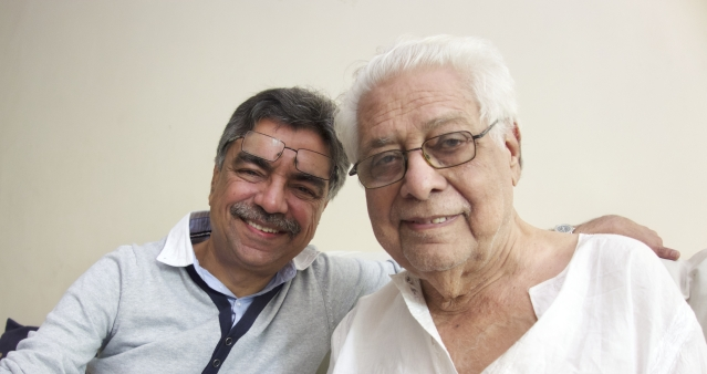 Basu Chatterji with the writer Khalid Mohamed. (Photo courtesy: Khalid Mohamed)