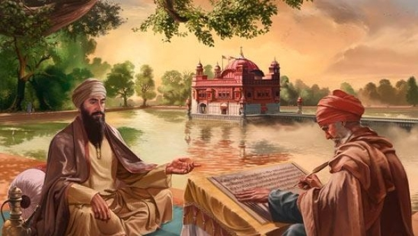An illustration of Guru Arjan Dev composing hymns for the Guru Granth Sahib. (Photo: Wikimedia Commons)
